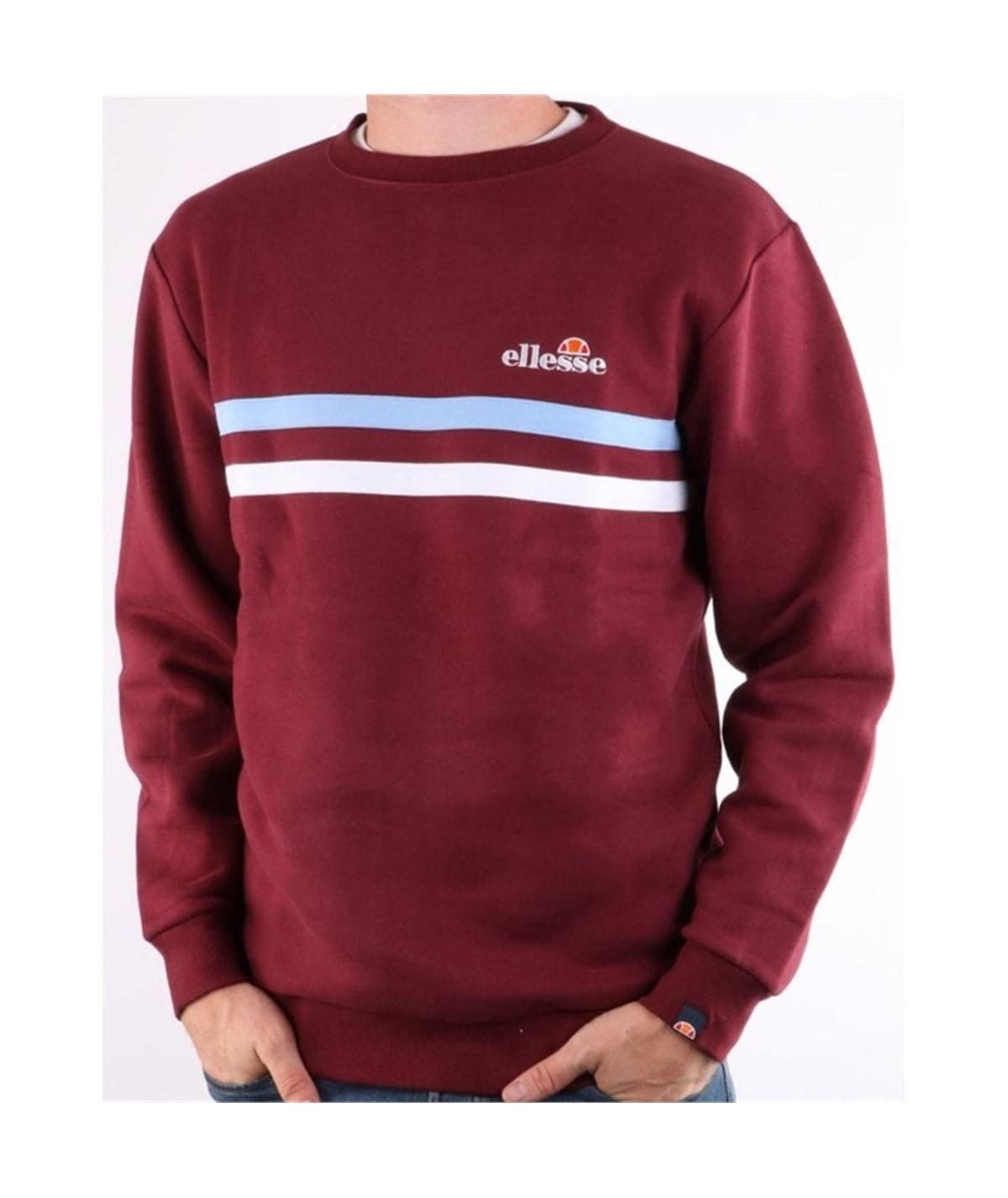felpa girocollo ellesse-erminion-sweatshirt-burgundy