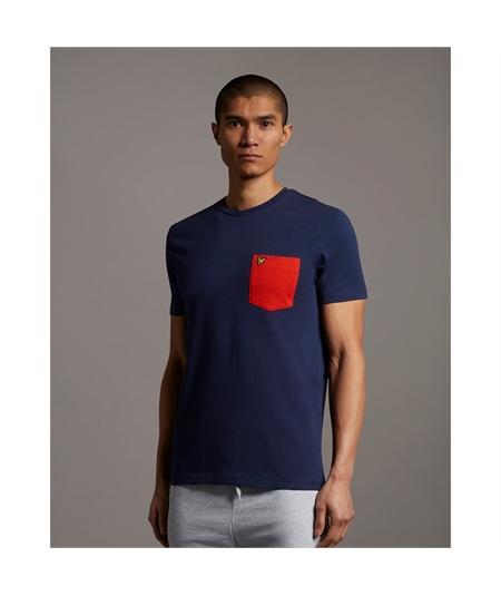 TS831V_t-shirt pocket lyle scott navy orange