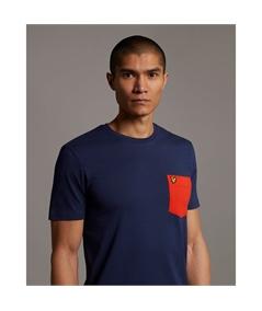 TS831V_t-shirt pocket lyle scott navy orange 2