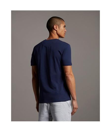 TS831V_t-shirt pocket lyle scott navy orange 3