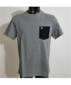 t-shirt pocket mid grey black lyle scott