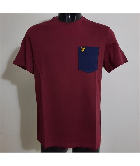 t-shirt pocket merlot navy lyle scott