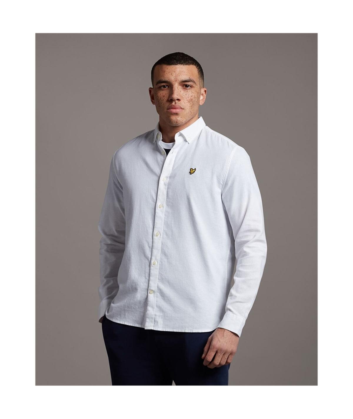 LW1224V_626 camicia lino lyle scott bianco white