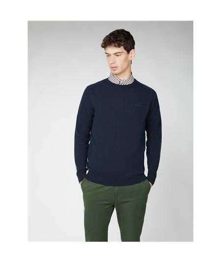 63370 maglia girocollo cotone Ben Sherman blu navy 1