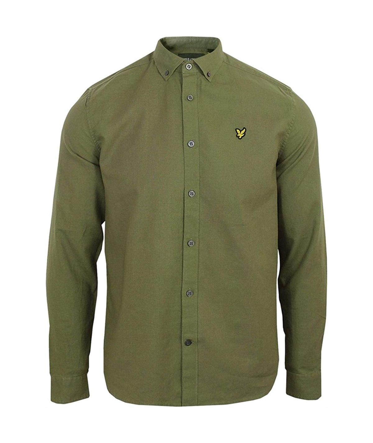 camicia lino verde lyle scott