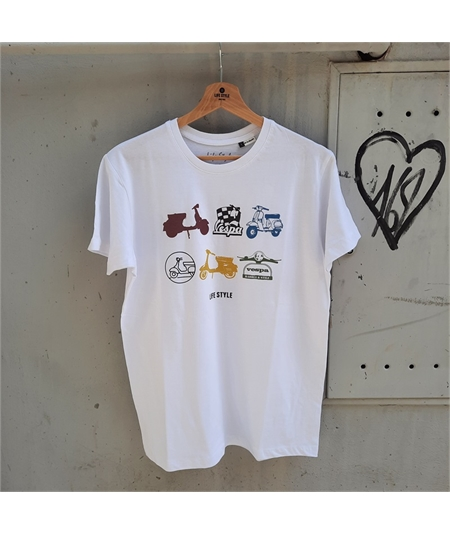 T-shirt vespa life style bianco white