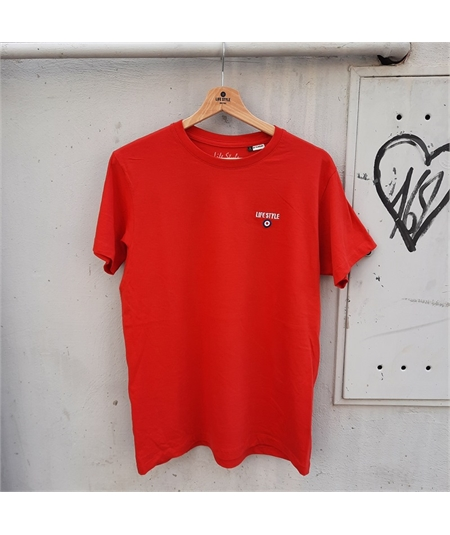 t-shirt ricamo life style rosso 1