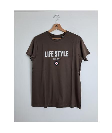 t-shirt life style flock marrone 1